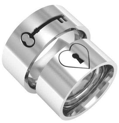 Lock and Key Design Platinum Couple Ring