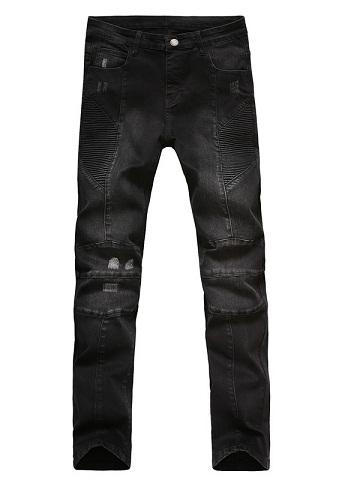 Bikers Faded Black Denim jeans for Men