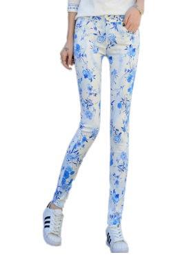 Floral Print Pencil Jeans