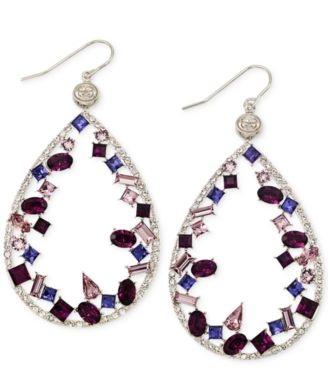 colourful-tear-drop-platinum-earrings