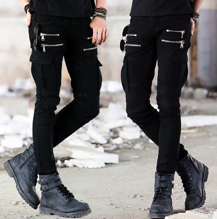 Biker Skinny Zipper Men Cargo Jean