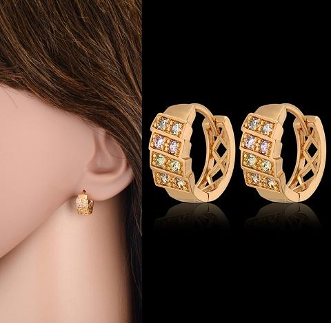 Small clip drop diamond stud earrings