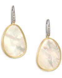 Lunaria diamond stud drop gold earrings