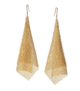 Red carpet small mesh gold earrings
