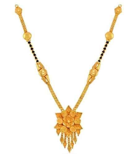 Gold Floral Mangalsutra Design