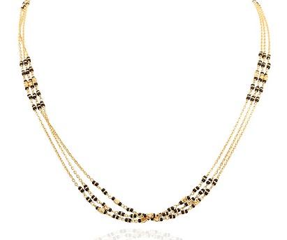 Three strand black bead Gold chain Mangalsutra design