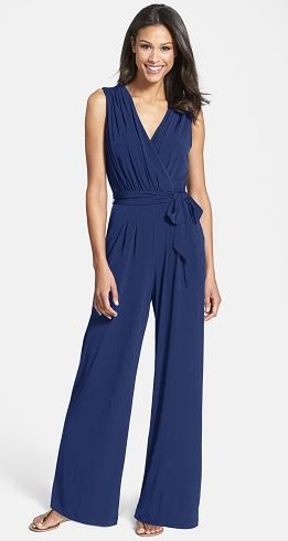 Blue pleated wrap Culotte jumpsuit-4
