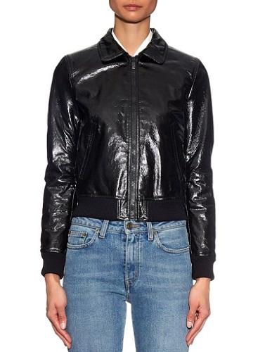High-Shine Leather Aviator Jacket