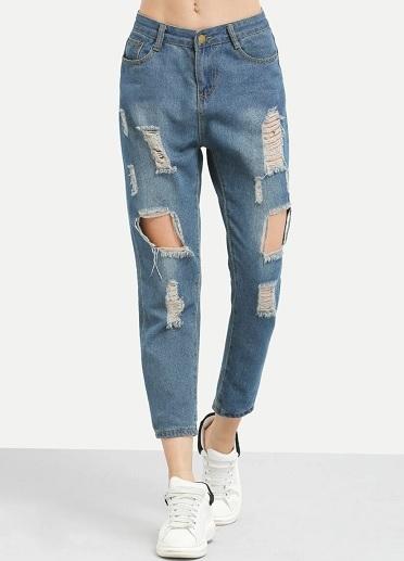 Distressed Ripped Boyfriend Jeans