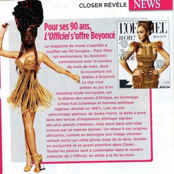 Beyonce Covers L'Officiel Magazine March 2020