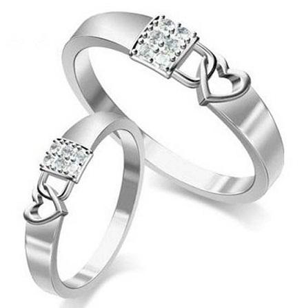 Couples heart lock ring set