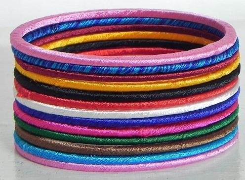 Thin silk thread bangles