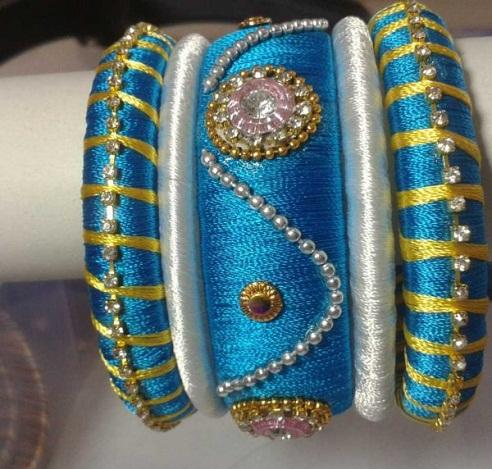 Heavy work designer silk thread bangles