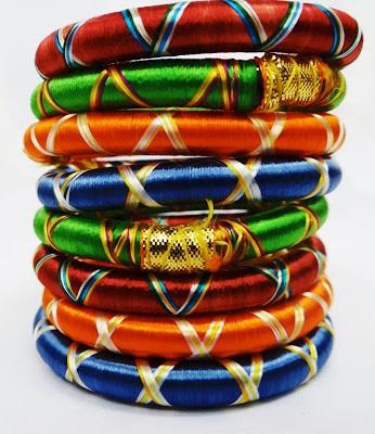 Ribbon thread bangles