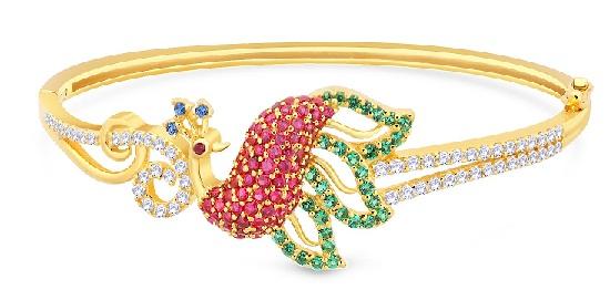 gold-bracelets-for-women-peacock-shaped-gold-bracelet-with-diamonds