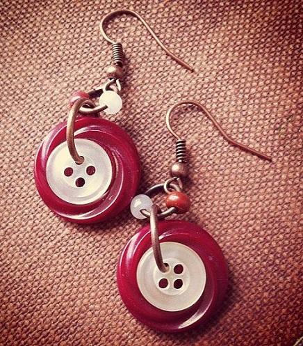 Two button dangler earrings