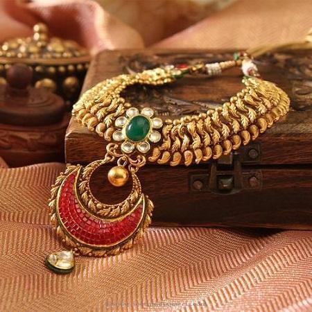 Gemstone Studded Gold Necklace