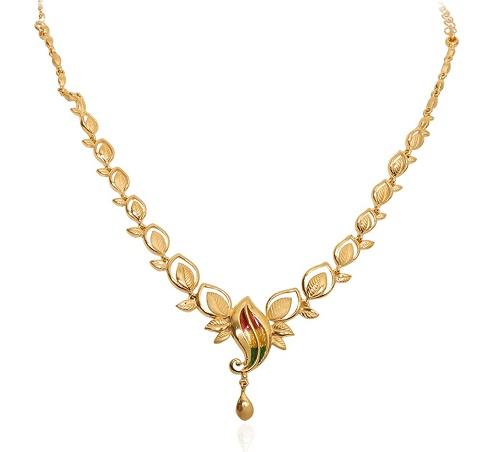 Magnolia Leaf Gold Necklace