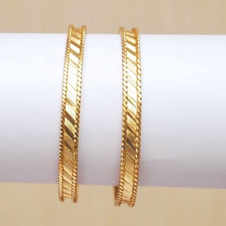 Slant Lines Gold Bangles