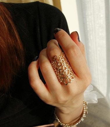 Pure Gold Filigree Big Gold Rings
