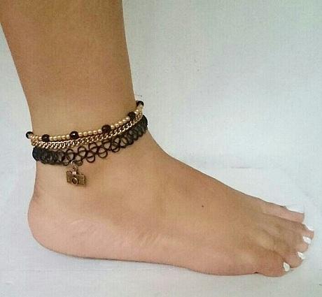 Black Choker Style Anklets for Women