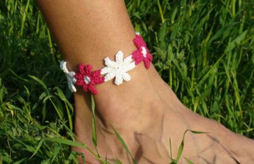 Floral Crochet Anklet