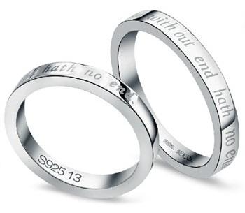 Engraved Couple Diamond Rings