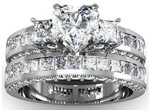 3 diamond set Couple Rings