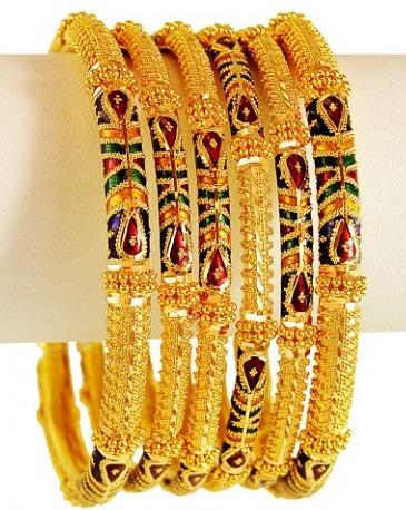 22 Karat Gold Meenakari Gold Bangles