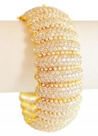 22 Karat Gold Diamond Stud Broad Bangle