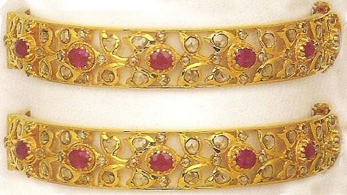 22 Karat Gold Ruby Stud Bangles