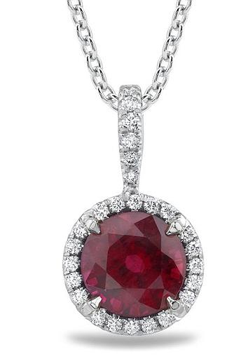 Round Halo Ruby Pendant with Diamonds