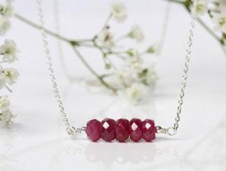 Ruby Gemstone Bar Pendant White Gold Necklace