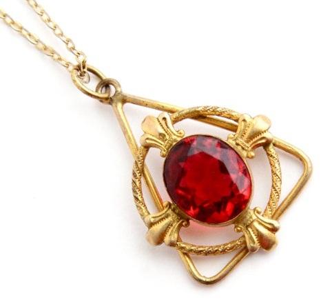 Triangular Single Ruby Stud Gold Pendant