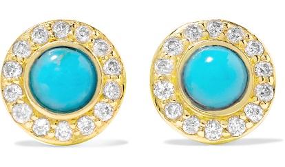 Diamond Studded Turquoise Earring