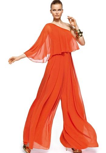 One Shoulder Orange Designer Jumpsuit for Women2