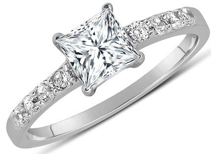 1 Carat Diamond Ring with Princess Cut