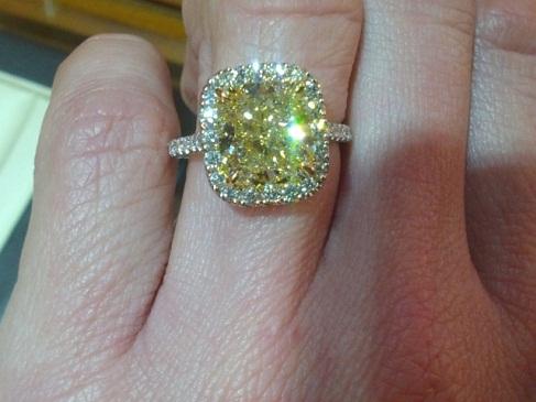A 5 Carat Yellow Diamond Ring