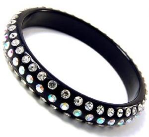 Acrylic Black Bangles with Stones