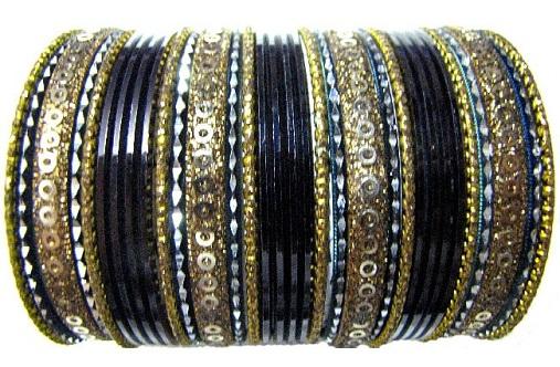 Indian Traditional Black Bangles Set