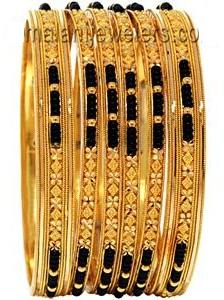 Black Beads on Gold Bangles