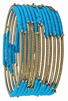 Thread Blue Bangles for Women