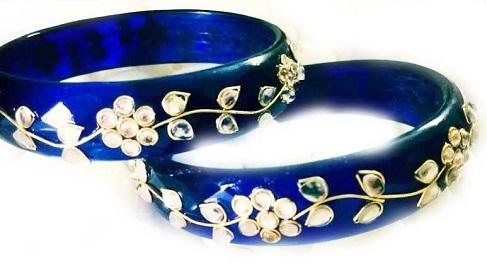 Kundan Work Royal Blue Bangles