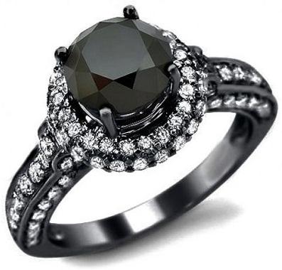 Black Rounded Diamond Engagement Ring