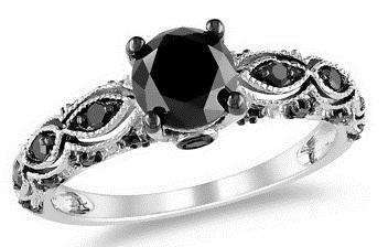 Black Diamond Silver Ring for Women