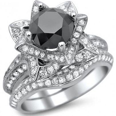 Lotus Flower Black Diamond Wedding Ring