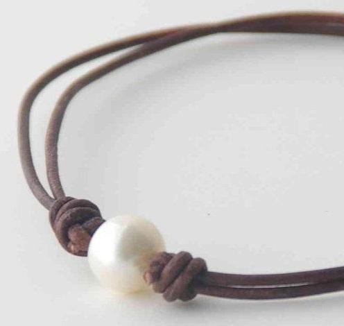 Adjustable Brown Leather Pearl Anklet