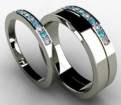 Blue Diamond wedding Bands for Men