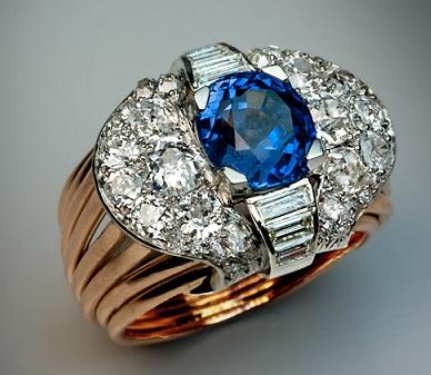 Blue Ceylon Diamond Ring