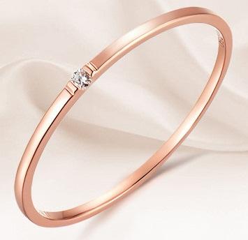 Rose Gold-Solitaire Diamond Bangle